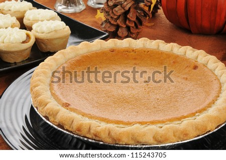 A pumpkin pie and other holiday treats