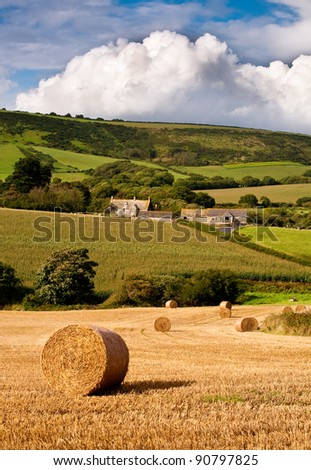 A Purbeck farm - straw bales at harvest in a Purbeck valley in Dorset, UK.