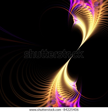 A purple and golden surreal fractal vortex with an abstract look and feel.