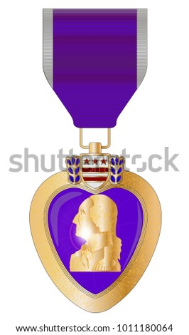 A purple heart medal isolated on a white background