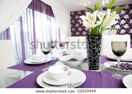 Dining Room on Purple Styled Lounge And Dining Room Interior Stock Photo 52059499