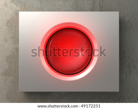 a pushed red button - stock photo