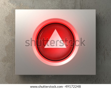 a pushed red button with the up sign