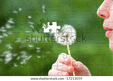 a puzzle of a girl blowing a dandelion