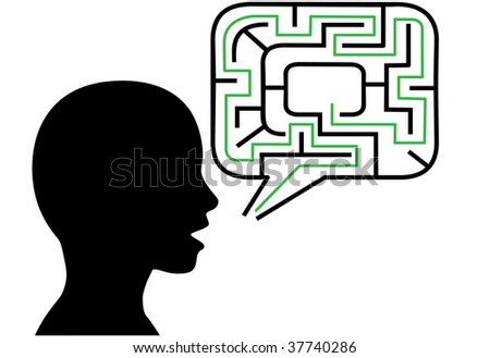 A puzzled person silhouette talks in maze puzzling speech bubble solution.
