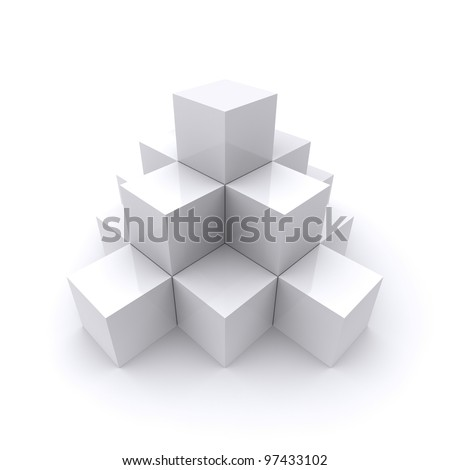 A pyramid made up of white cubes