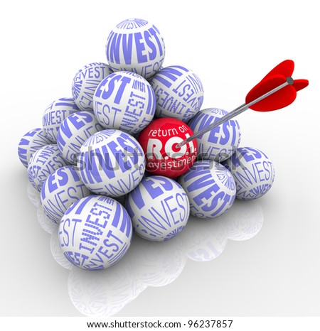 A pyramid of balls marked Invest and an arrow targeting one with the words Return on Investment symbolizing the need to target the best investing strategy