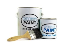 a quart or liter can and a gallon pail of paint with a fake, generic, white paint label, with a paint brush leaning on it isolated on white