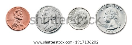 A quarter, dime, nickel, penny. the most common used American Coins. Collection of US coins in the united states one, half, quarter dollar and 1 cent coin isolated on white background with clip path. Stock photo ©