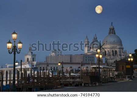 A quarter moon over The Santa Maria Della Salute