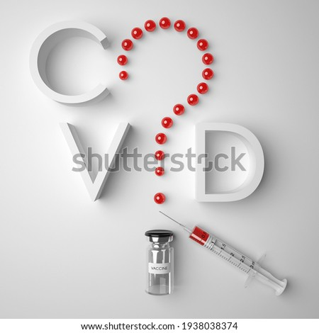 A question mark made of vaccine drops and inscribed in the word COVID. Antiviral vaccination: issues, doubts and hesitations, risks and problems. 3D render medical background. Stock photo ©