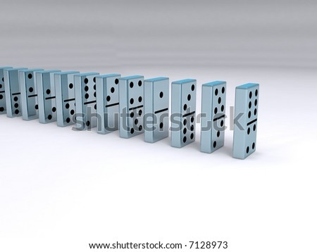 A queue of chrome dominoes