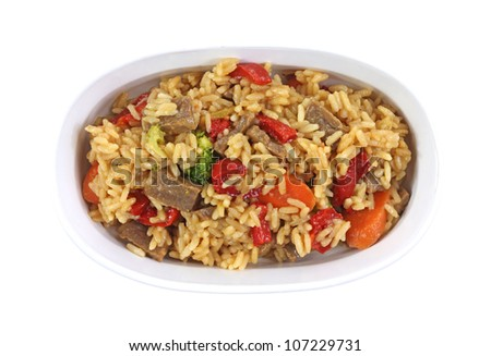 A quick tasty meal of beef rice and vegetables.