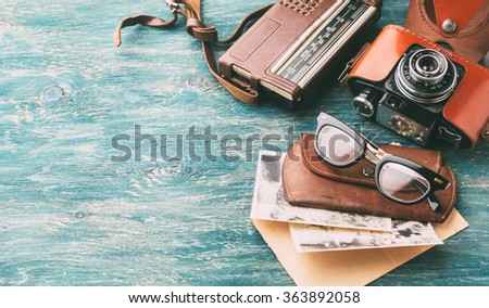 stock photo old retro glasses radio and old retro camera on wooden background may be used as background 363892058 - Каталог — Фотообои «Ретро»