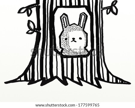 A rabbit in the tree hole