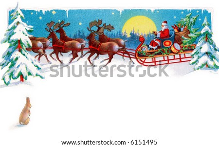A rabbit watches Santa, reindeer and sleigh on Christmas Eve - circa 1915 illustration - area for type