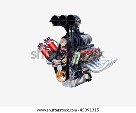 A racing engine isolated on a white background.