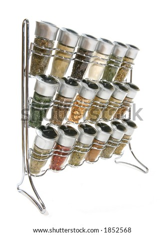 A rack holding many spices for food