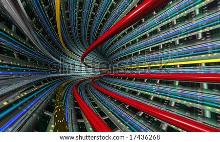 A radial tunnel with data cables in perspective.
