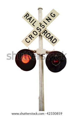 A rail road signal with one red light on.  Isolated on white.