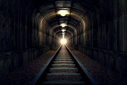 A railroad tunnel with a light at the end. Can represent achieving your goals, getting through problems and obstacles or simply represent exactly what you can see - an old tunnel.