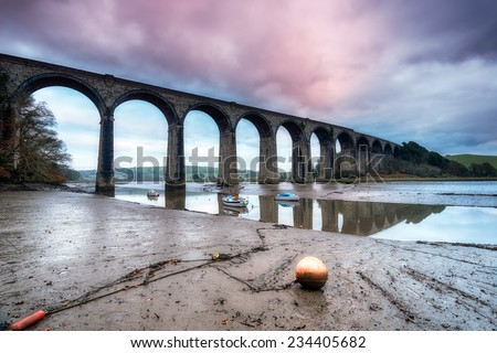 A railway viaduct crossing the quay at St Germans in Cornwall