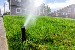 A Rainbird irrigation and sprinkler system is turned on in a backyard
