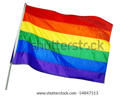 a rainbow flag waving on a white background