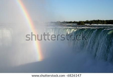 A rainbow shot against the fog of Niagara Falls.