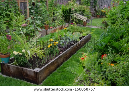 A raised bed filled with herbs and vegetables is nestled in the center of two other narrow gardens. A rustic, delightful sign adds an artistic accent.