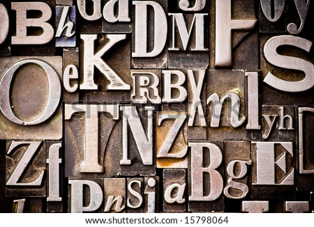 backgrounds for letters. stock photo : A random arrangement of letterpress letters.