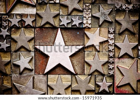A random arrangement of letterpress stars with narrow depth of field. Part of a series of letterpress backgrounds