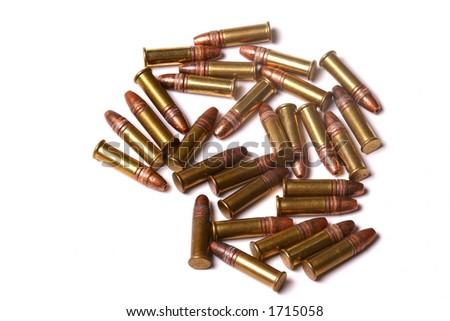 A random group of .22 caliber rimfire rifle cartridges