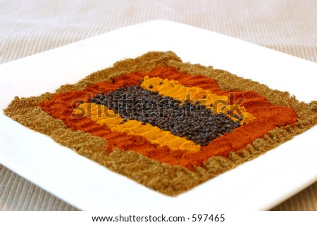 A range of essential Indian spices laid out in a colorful pattern. Shallow DOF.
