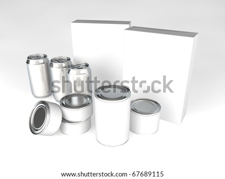 A range of products with blank labels - cans, tins, cereal boxes
