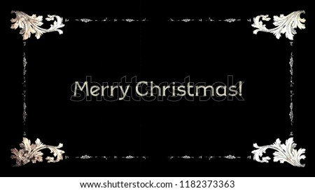 A re-created film frame from the silent movies era, showing the intertitle text: Merry Christmas.
