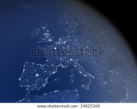 A realistic image of the earth from space at night with light emissions from large urban areas and atmospheric haze. The center of the view is Europe. The image is a rendered 3d scene.