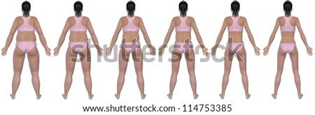 A rear view illustration of a obese woman's weight loss progress in a series of six renders. Isolated on a solid white background.