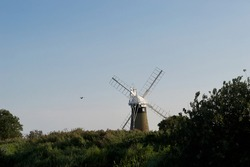 A rear view of a windmill (wind pump): tall traditional countryside building, surrounded by trees and bushes, with a bird in flight