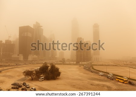 A recent sand storm covered Dubai can be seen here.