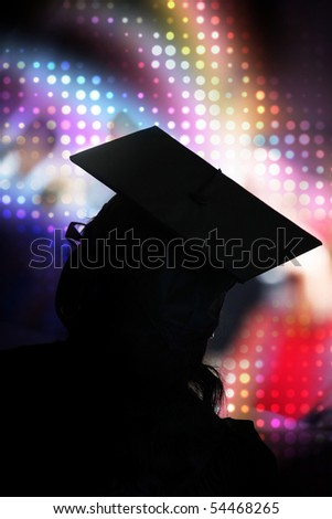 A recent university or high school graduate posing in her cap and gown in front of a rainbow halftone background.