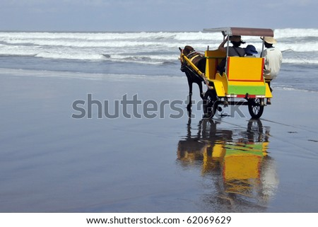 A Recreational Horse Buggy Ride on a beach in Indonesia