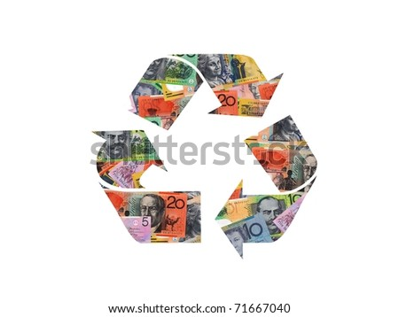 A recycle symbol from cash isolated against a white background