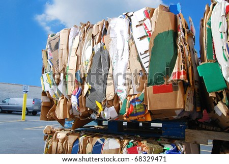 A recycling cartons against sunshine - stock photo