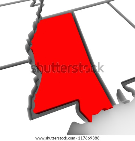 A red abstract state map of Mississippi, a 3D render symbolizing targeting the state to find its outlines and borders