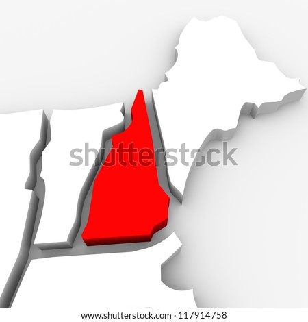 A red abstract state map of New Hampshire, a 3D render symbolizing targeting the state to find its outlines and borders