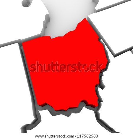 A red abstract state map of Ohio, a 3D render symbolizing targeting the state to find its outlines and borders