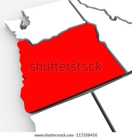 A red abstract state map of Oregon, a 3D render symbolizing targeting the state to find its outlines and borders