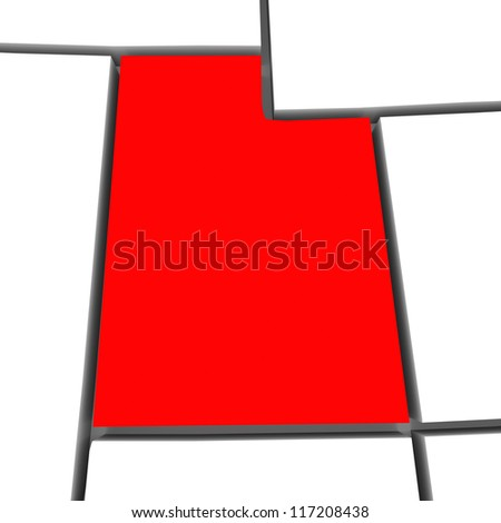 A red abstract state map of Utah a 3D render symbolizing targeting the state to find its outlines and borders