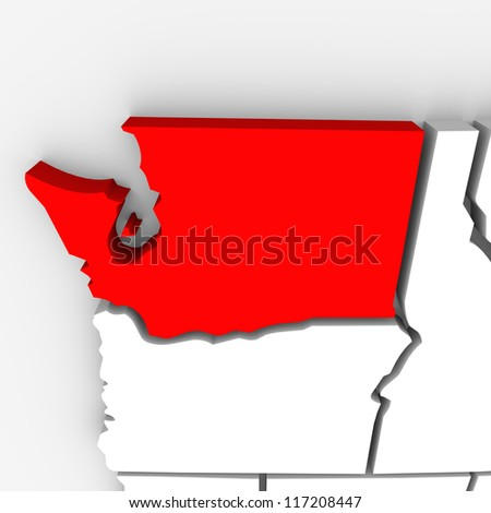 A red abstract state map of Washington, a 3D render symbolizing targeting the state to find its outlines and borders